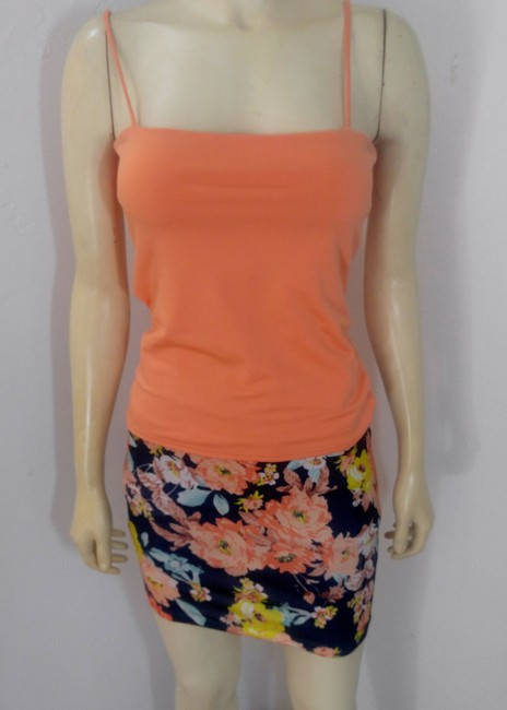 Other P2131 Size Small Floral Mini Skirt orange, navy, teal, yellow, white Image 1