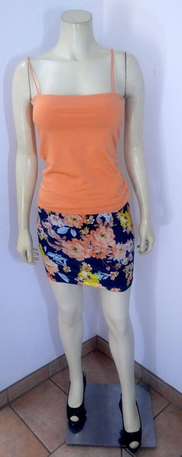 Other P2131 Size Small Floral Mini Skirt orange, navy, teal, yellow, white Image 2