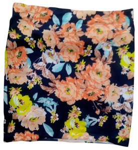 Other P2131 Mini Size Small Floral Mini Skirt orange, navy, teal, yellow, white