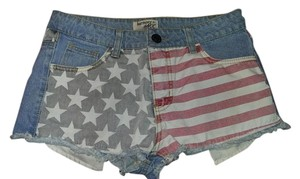Harmony & Havoc Flag Denim Cut Off Shorts Red, white and blue