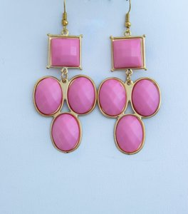 Pink Faux Stone Color Oval Sqare Shaped Earrings!