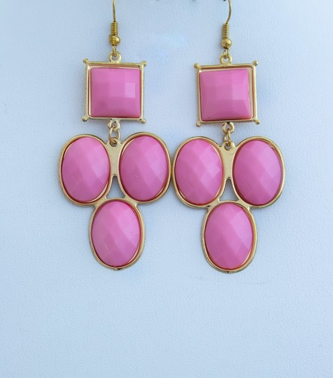 Other Pink Faux Stone Color Oval Sqare Shaped Earrings!