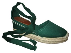 Talbots Cotton Ankle Wrap Sandals green Platforms