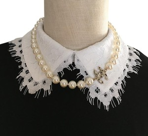 Chanel Chanel Classic White Pearl Choker Necklace Black Crystal CC Logo 17