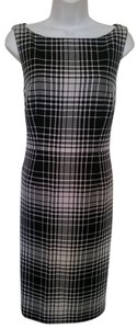 Semantiks Plaid Boatneck Career Dress