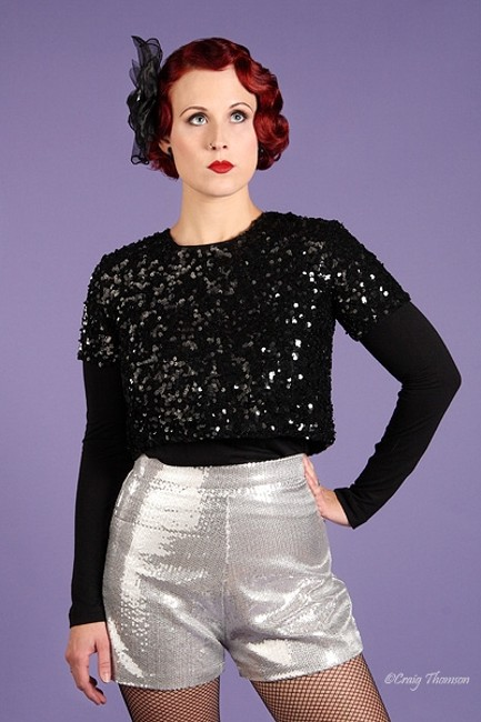 Broad Minded Clothing Pinup Disco Sequin High Waist Roller Derby Mini/Short Shorts Silver Image 1