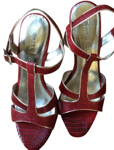 White House | Black Market Wedge Red Snakeskin 7.5 Red, Silver Sandals