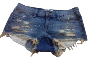 Wildfox Mini/Short Shorts Jean/ Multi-print/ Fringe