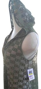 Other Sexy Olive green Fishnet hoodie swim coverup sz S