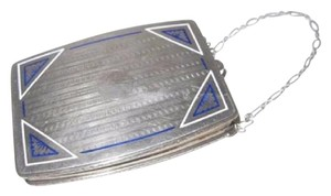 David Andersen/Willy Winnaess Mint Vintage Made Of Made In Norway Modernist Designers Rare Collectible Sterling with white & blue enamel and sapphire clasp Clutch