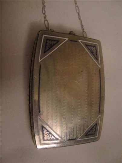 David Andersen/Willy Winnaess Mint Vintage Made Of Made In Norway Modernist Designers Rare Collectible Sterling with white & blue enamel and sapphire clasp Clutch Image 3