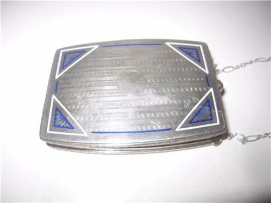 David Andersen/Willy Winnaess Mint Vintage Made Of Made In Norway Modernist Designers Rare Collectible Sterling with white & blue enamel and sapphire clasp Clutch Image 4