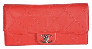 Chanel Cc Leather Red/Coral Clutch
