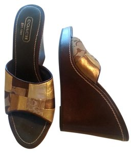 Coach Sandal Wedge Multicolor Brown/Bronze Leather Patchwork Sandals