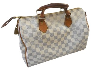 Louis Vuitton Speedy Lv Damier Azur Satchel in Azur white
