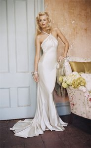 Alvina Valenta 9563 Silk Charmuse Sexy Jeweled Halter Liquid Silk Wedding Dress