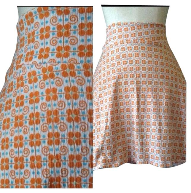 Lisa Nieves Summer Short Mini Casual Stretchy Lycra Party Night Out Date Night Flowy Mini Skirt Orange and teal ble print