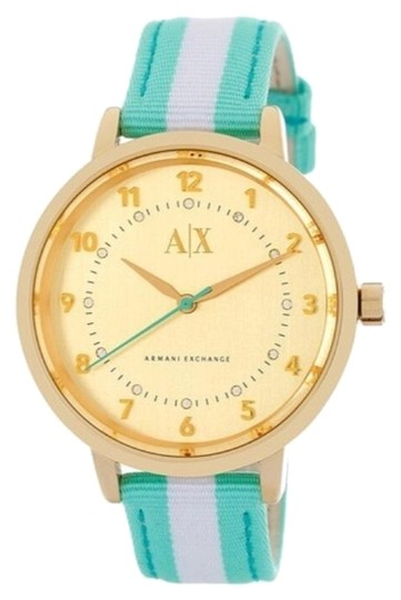 Preload https://img-static.tradesy.com/item/17692675/ax-armani-exchange-gold-tone-crystal-mint-green-and-white-striped-watch-0-1-540-540.jpg