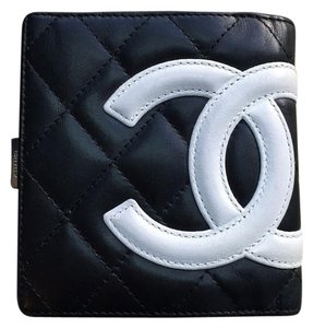 Chanel Cambon CC Black Leather Compact Bifold Wallet