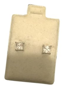 Other NEW square clear stone earrings with sterling silver backing