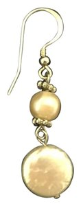 Other NEW white pearl and peach pearl sterling silver dangling earrings