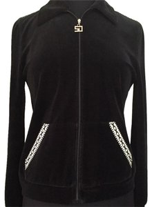 St. John Sport by Marie Gray St. Velour Embroidered Zip-up Black Jacket