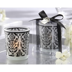 Damask Traditions Frosted Glass Tea Light Holder With Kate Aspen Signature Charm - Brand New - 16 Pcs