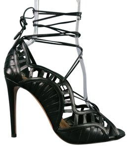 Aquazzura Cut Out Lace Up Peep Toe Strappy Tie Black Sandals