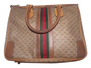 Gucci Gold Hardware Print Wide Center Stripe Red/Green Stripe Two Hard Handles Satchel in shades of brown coated canvas with small G logo/leather