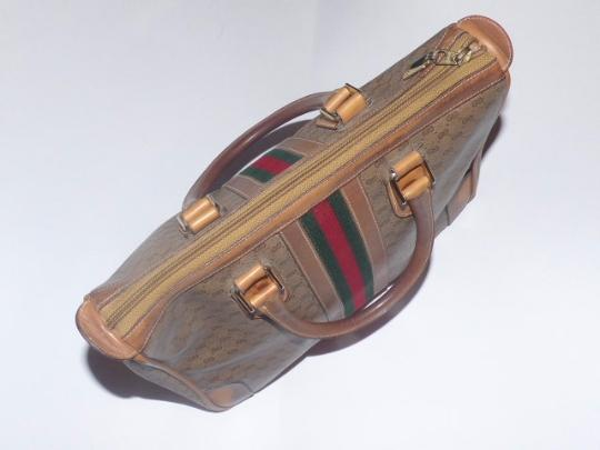 Gucci Gold Hardware Print Wide Center Stripe Red/Green Stripe Two Hard Handles Satchel in shades of brown coated canvas with small G logo/leather Image 1