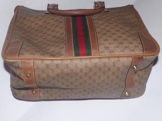 Gucci Gold Hardware Print Wide Center Stripe Red/Green Stripe Two Hard Handles Satchel in shades of brown coated canvas with small G logo/leather Image 3