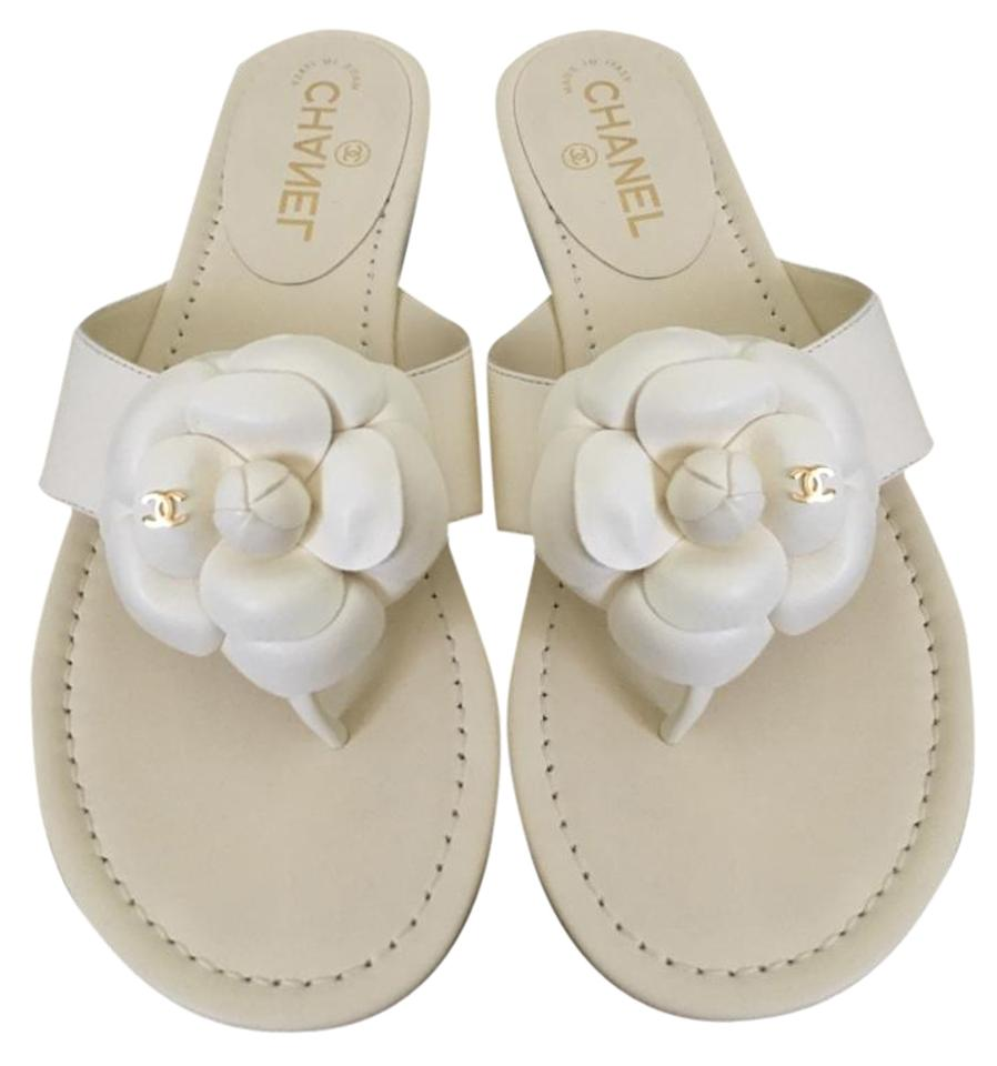 Chanel White Leather Camellia Flower Thong Flip Sandals Size Us 95