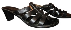 Bass 6.5 Leather Silver Strap Heal Mule Gladiator Black Sandals