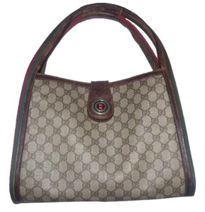 Gucci Hardware Satchel in shades of brown coated canvas with large G logo/leather