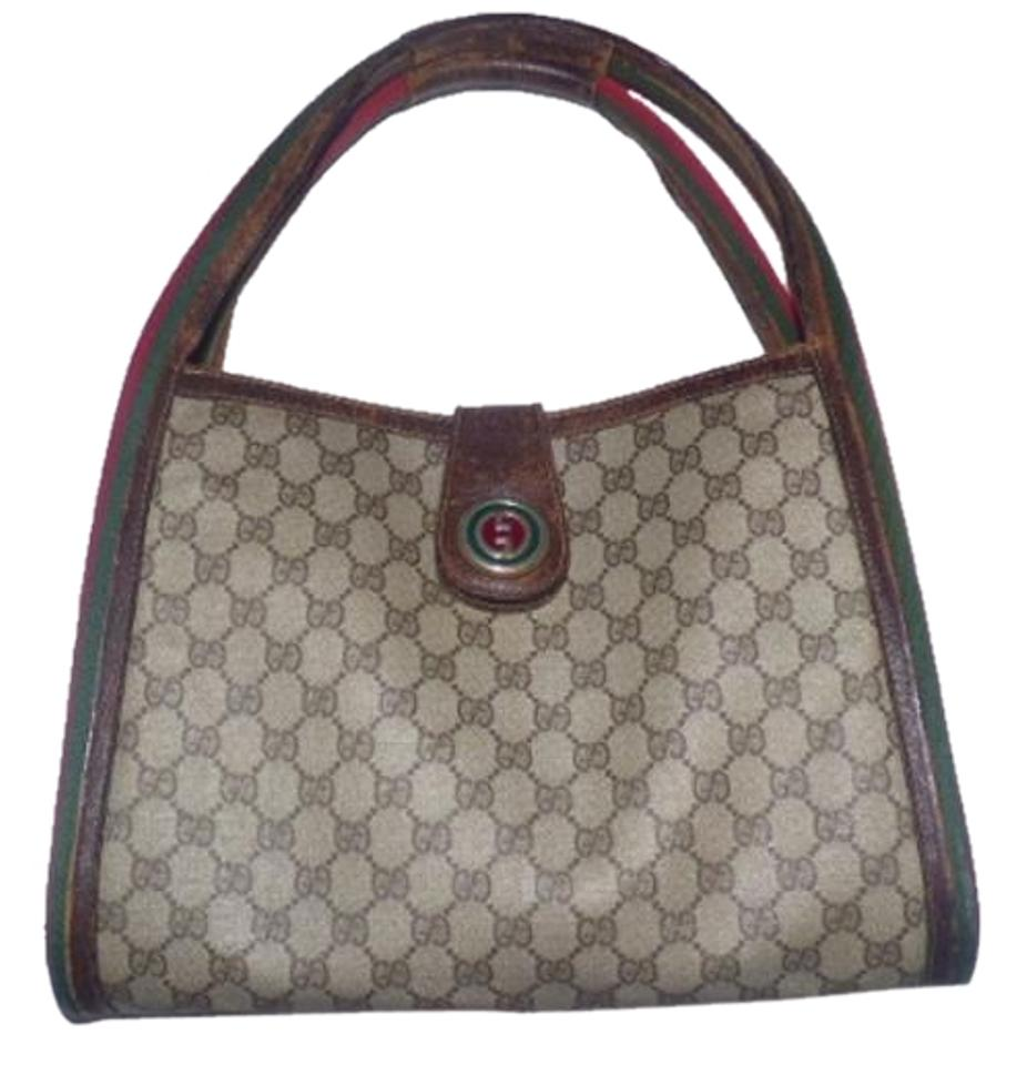 2cc3e4be0f67 Gucci Gold Hardware Red/Green Stripe Two Hard Handles Print Enamel Snap  Satchel in shades ...