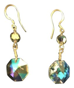 clear crystal beads sterling silver dangling earrings