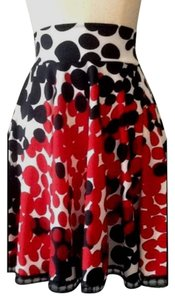 Lisa Nieves Polka Dot Stretchy Flowy Summer Mini Skirt Black, red and white print