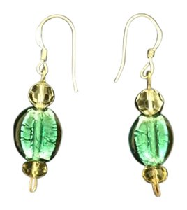 Other clear, yellow, green beads sterling silver dangling earring