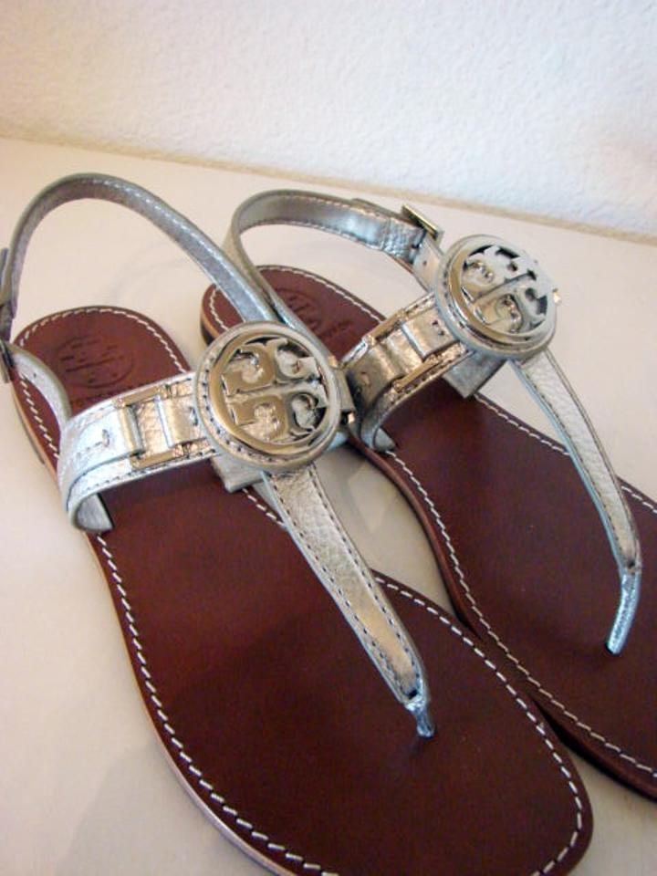 7604e78b0173 Tory Burch Silver Cassia Tumbled Leather Sandals Size US 9.5 Regular ...