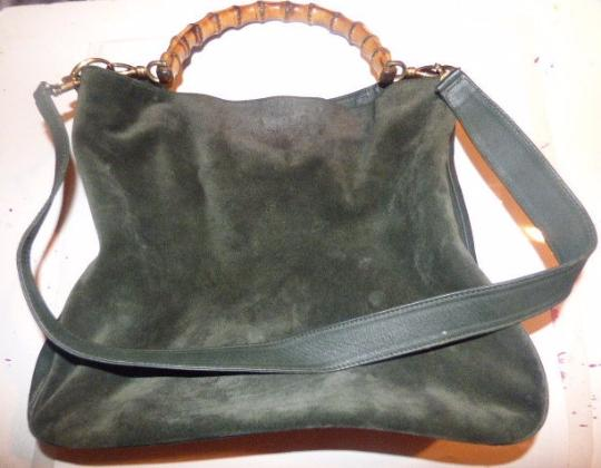 Gucci Gold Hardware Sarah Flip-top Style Removable Strap Two-way Strap Bamboo Handle Satchel in Green Suede body/Green leather accents Image 3