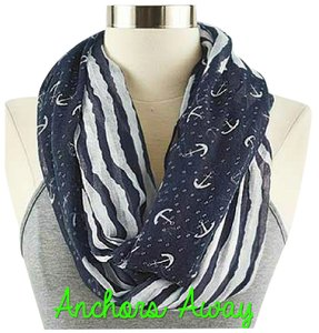 Other Navy Blue and White Anchor Infinity Scarf