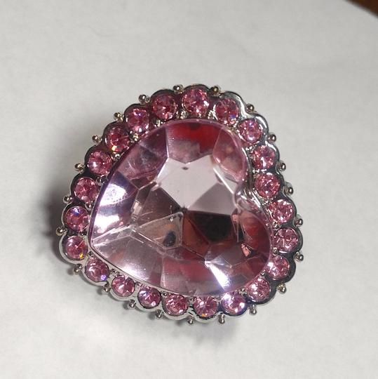 Other New Chunky Heart Statement Ring Adjustable Size Silver Tone Pink J2749 Image 1