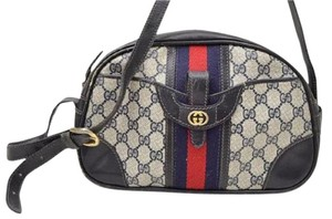 Gucci Rare And Unique Mod And Chic Bowling Shape Front Pocket Print Satchel in shades of blue in large G logo with red/navy stripe