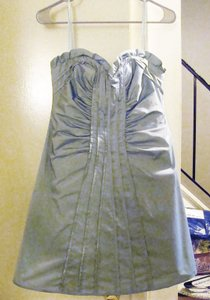 BCBGMAXAZRIA Pale Blue Taffeta Sheath With Strapless Bustier Dress
