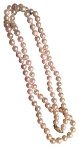 Opera length genuine pearl necklace 14 k gold clasp