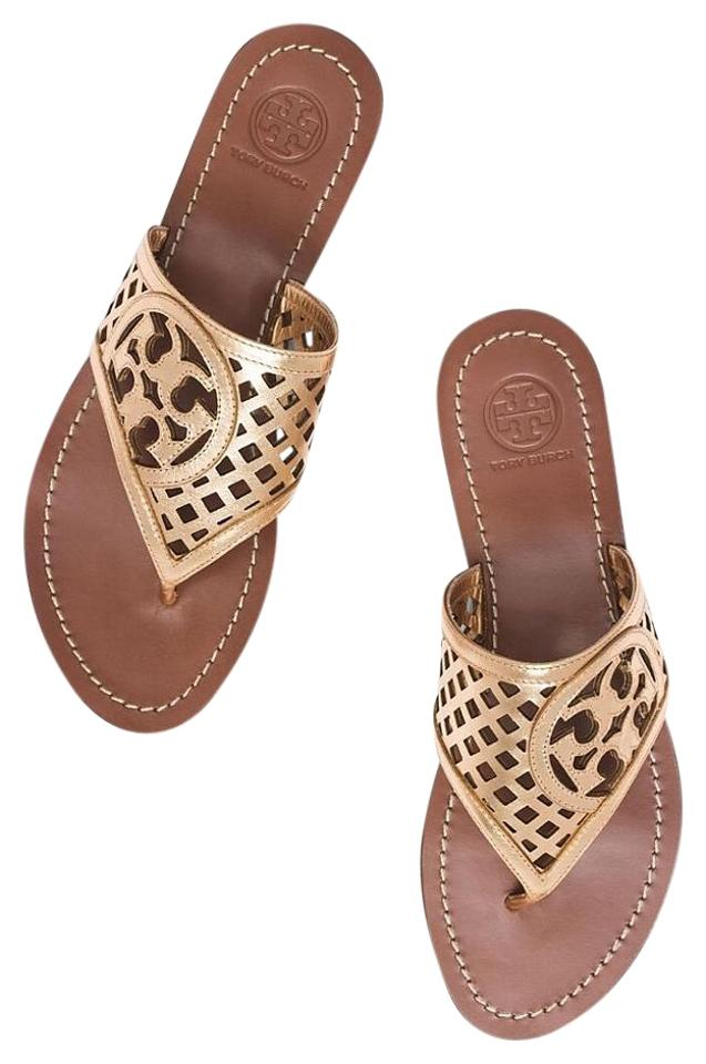 942bd12cd Tory Burch Gold Perforated Logo Thatched Flat Thong Metallic Leather Sandals