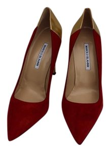 Manolo Blahnik Red with Gold Pumps