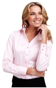 Thomas Pink Thomas Shirt Button Front Work Shirt Button Front Blouse Button Down Shirt Pink