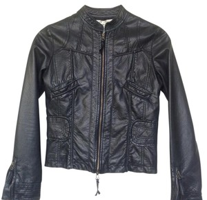 Max Studio Vegan Leather black Leather Jacket