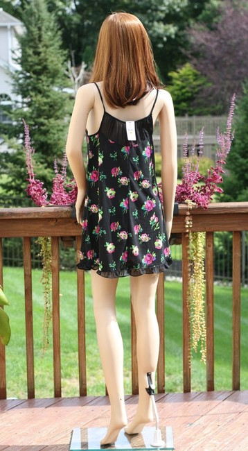 Betsey Johnson short dress Black Floral Roses Polyester Lycra Babydoll Chemise Nightie Nightgown Sleepwear Slip Sheer Ruffle Spaghetti Straps Size 4-6 Small on Tradesy